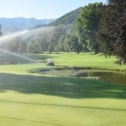 golf course irrigation system near green