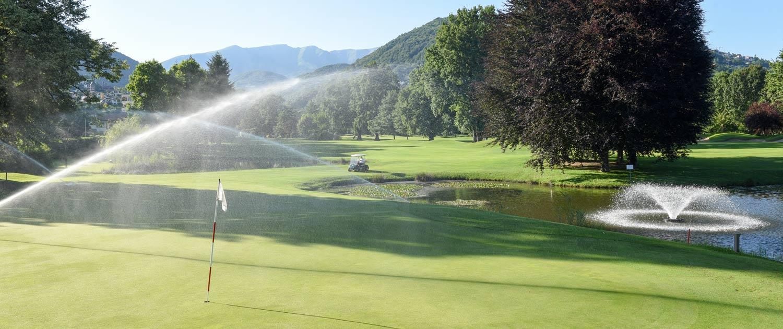 golf course irrigation system near green