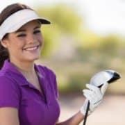 cute girl golfer purple shirt