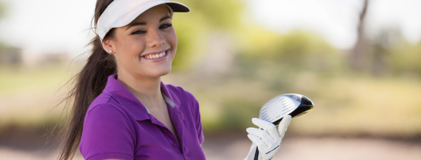cute girl golfer purple shirt